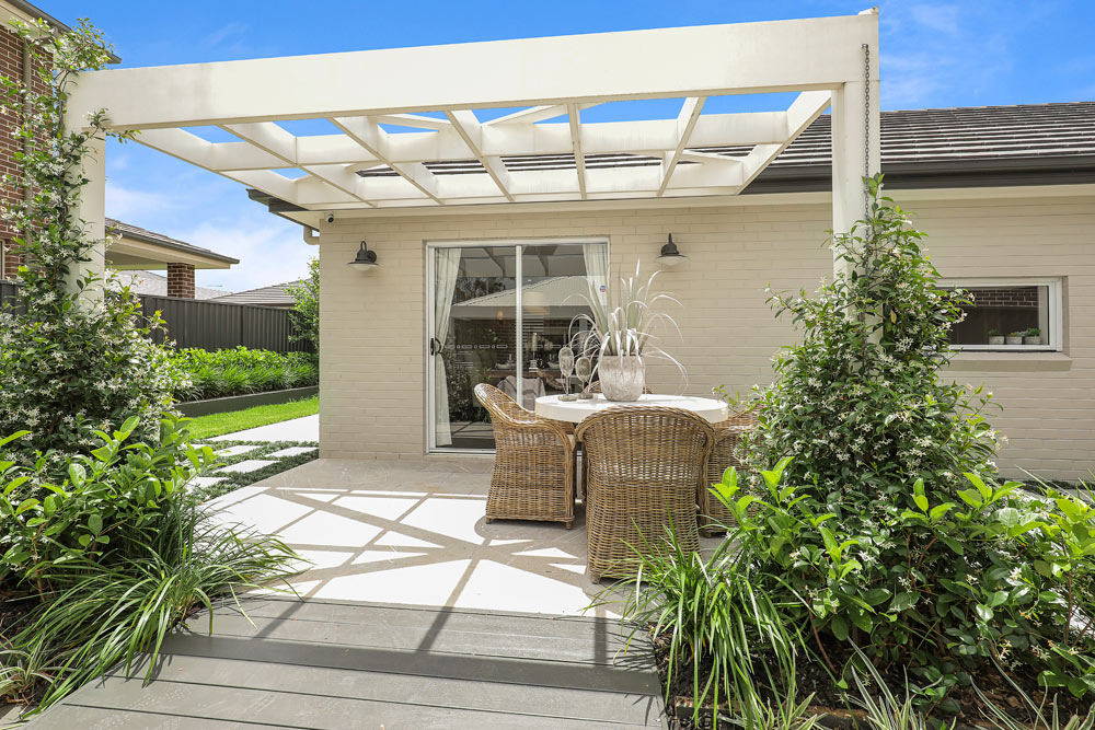 Austral Display Home with Hamptons Style Interiors Alfresco