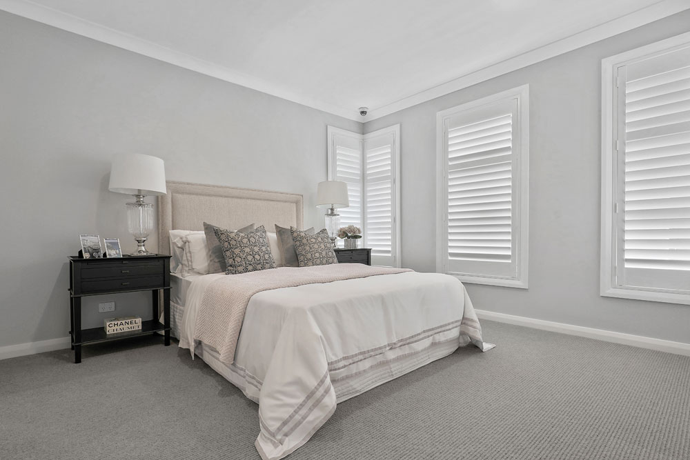 Austral Display Home with Hamptons Style Interiors Bedroom